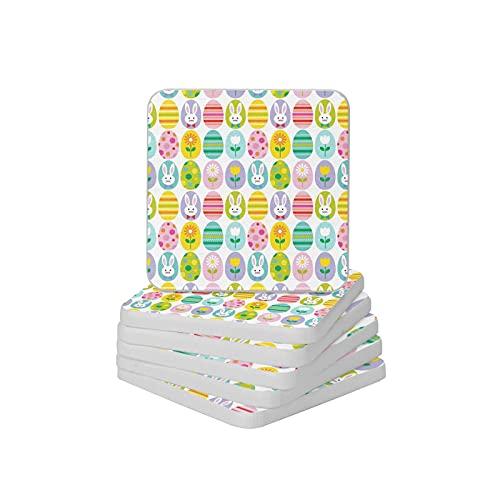 Juego de 6 posavasos absorbentes con diseño de huevo y conejo, para tazas y tazas