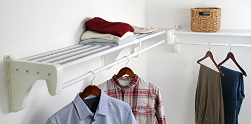 EZ Shelf - DIY Expandable Closet Kit - 2 Closet Shelf Rods Units and 2 End Brackets Each Unit 40 in to 74 in White