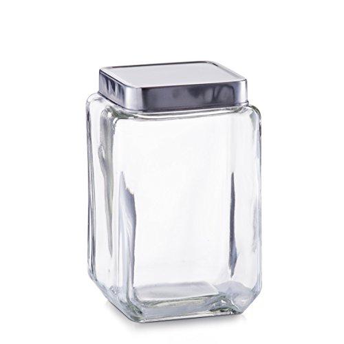 Zeller Vorratsglas mit Edelstahtdeckel 11x11x18cm eckig 1,5l
