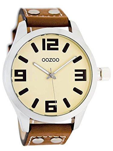 Oozoo Junioruhr Damenuhr mit Nieten Lederband Quarz Classic 40 MM Creme/Cognac JR152