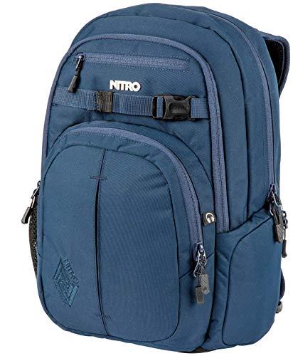 Nitro Chase Rucksack, Schulrucksack mit Organizer, Schoolbag, Daypack mit 17 Zoll Laptopfach, INDIGO