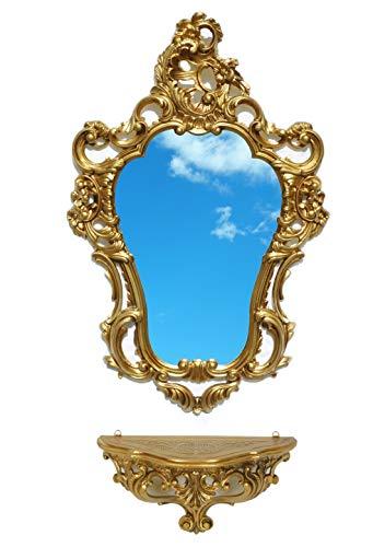 Ideacasa Completo Specchio e Mensola Consolle Oro Stile Barocco Luigi XVI Finto Vintage Dorato