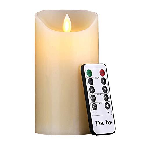 Da by LED Kerzen, 15cm Realistic Dancing LED Flackernder Docht für Partys, Zuhause, öffentliche elegante Veranstaltungen, batteriebetrieben, 10-Tasten-Fernbedienung, Elfenbeinfarbe.