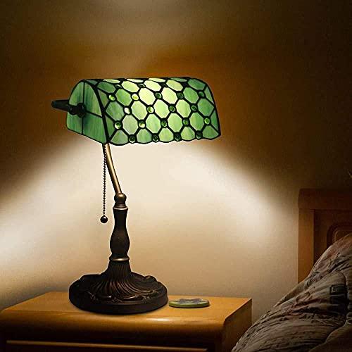 Lampe de table de style Tiffany, lampe de banque rétro, lampe de chevet Lampe de banquier traditionnelle, abat-jour en verre teinté d'église