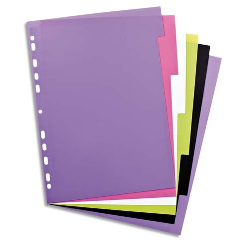 Kunststoff-Register myColour blanko 6 Blatt 6-teilig für DIN A4 Plastikregister mit beschriftbarem Deckblatt  multicolor