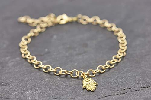 Armband Hamsa Hand Fatima vergoldet Glück Glücksbringer Schutzengel…