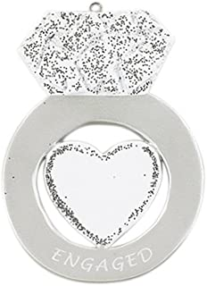 Personalized Engagement Ring Christmas Tree Ornament 2019 - Diamond Heart Glitter Engaged White Marry Me Silver Propose Romantic Couple 1st Got She Said YES Milestone Year - Free Customization