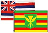 3x5 3 x5  Wholesale Combo Set State Hawaii & Kanaka Maoli 2 Flags Flag Banner Brass Grommets House Banner Brass Grommets Fade Resistant Double Stitched Premium Quality