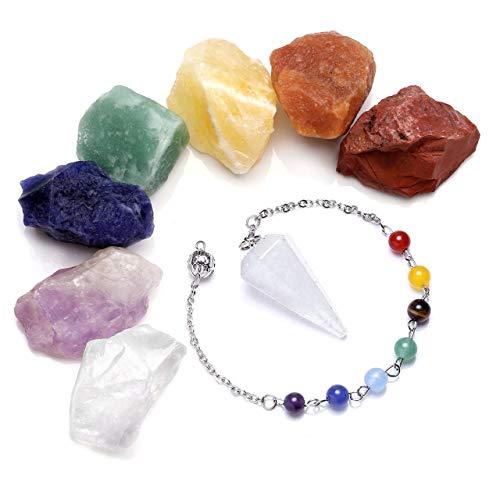 Kit de curación para chakras, 7 piedras naturales en bruto, péndulo de cuarzo y cristales de roca rugosa para meditación de yoga