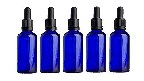 Botella con cuentagotas de cristal azul vacío de 30 ml con pipeta – Paquete de 5 unidades perfecto para aromaterapia/aceites esenciales