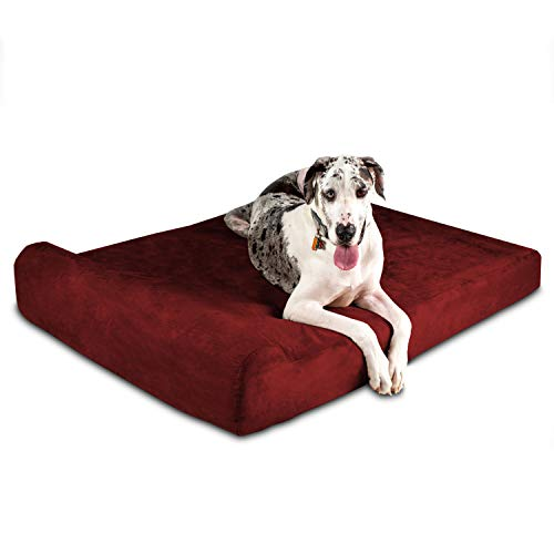 Big Barker 7' Orthopedic Dog Bed with Pillow-Top (Headrest Edition)   Dog Beds Made for Large, Extra Large & XXL Size Dog Breeds   Removable Durable Microfiber Cover   Made in USA