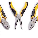 Stanley Juego Alicates Control Grip. Universal + Corte Diagonal + Boca Larga STHT0-75094, Negro, Amarillo, Talla única