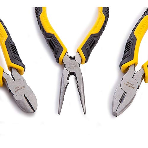 Stanley Juego Alicates Control Grip. Universal + corte diagonal + boca larga...