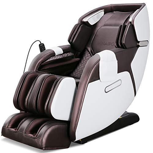 Naipo Massagesessel Shiatsu Massagestuhl für Ganzkörper, mit Heizung, Schwerelosigkeit, SL Track, Klopfen, Kneten, Luft-Massage-System, Bluetooth 3D Surround Sound Musik, für Zuhause und Büro