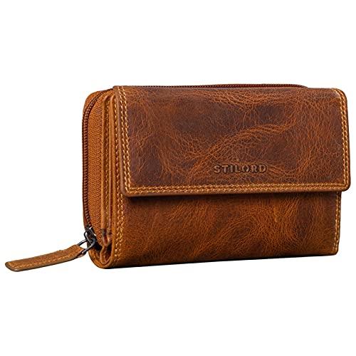 STILORD 'Thea' Damen Geldbeutel Leder RFID Geldbörse Groß Vintage Portemonnaie für Frauen NFC Schutz Ledergeldbörse mit Reißverschluss in Geschenkbox Echtleder, Farbe:luino - braun