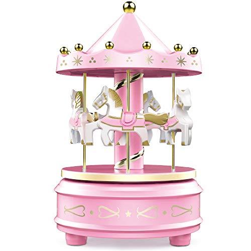 WEofferwhatYOUwant Carrusel Caja de Música Tiovivo - Giro Fácil, Rosa - Decoración Clásica de 4 Caballos, Melodía de para Elisa de Beethoven. Duerma con la Música, Ilumina o Decora tu Tarta