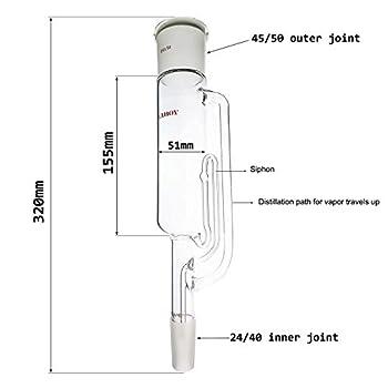 Extracteur Tube 45/50 Joint supérieur 24/40 Bas avec tube de siphon Appareil de distillation articulaire Corps d'extraction de graisse Extracteur d'huile essentielle de chimie organique