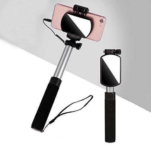 WSZLSD Bastoni Selfie Universale Mini Mobile Selfie Stick Portatile, Controllo di Linea in Lega di Alluminio Pieghevole telescopico Antiscivolo Manico in Spugna Viaggi sparare Foto artefatto