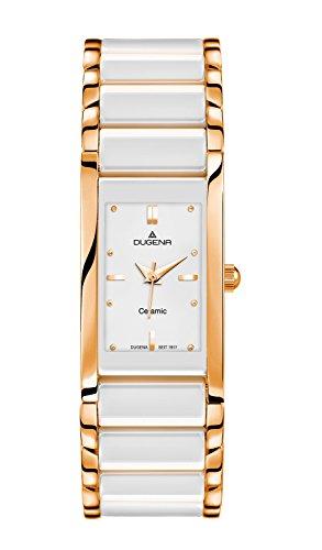 Dugena Damen Quarz-Armbanduhr, Keramik, Gehärtetes Mineralglas, Quadra Ceramica, Weiß/Gold, 4460590