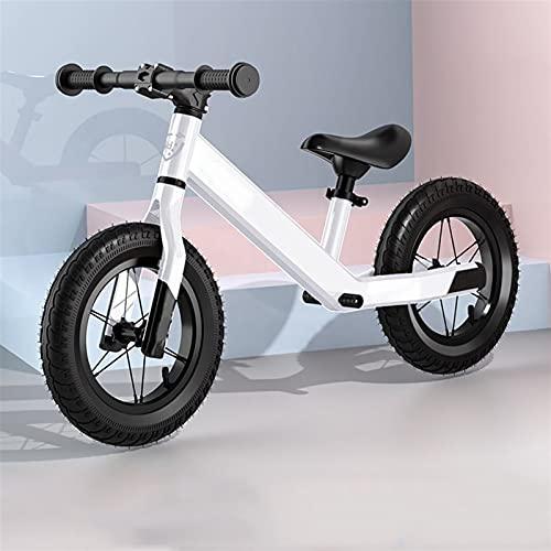 YQCH Bicicleta de Balance de 12 '', con Amortiguador sin pedalear Bicicleta de Entrenamiento para Caminar, neumático de Goma Inflable para niños y niños pequeños (Color : White)