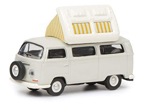 Schuco 452640400 VW T2a Camper mit geöffnetem Dach, Modellauto, 1:87, grau/weiß