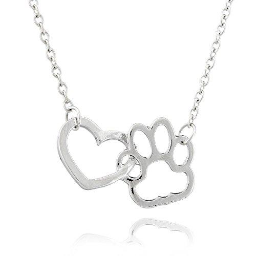 Collar Selia de Corazon con Huellas de Perro / Colgante Lucky Dog /Cadena de Perro con Suerte Estilo Minimalista