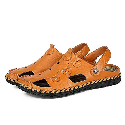 Sandalias Deportivas Hombres Verano Cuero Trekking Zapatillas Pescador Exterior Senderismo Playa Zapatos Casuales Chanclas Transpirable(Negro,42 EU,26.5CM De talón a Dedo del pie