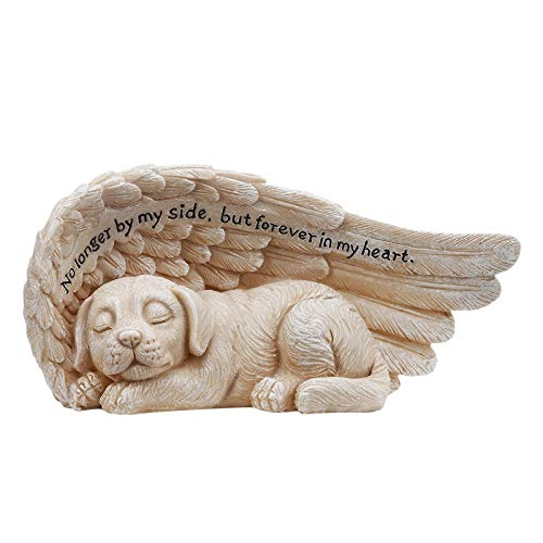 Angel Pets Statue, Garden Statue, Pet Angel, Pet Memorial Grave Marker Tribute Statue, Sleeping Dog in Angel Wings Resin Garden Ornament Garden Backyard Porch Decor Patio Lawn Yard Ornament