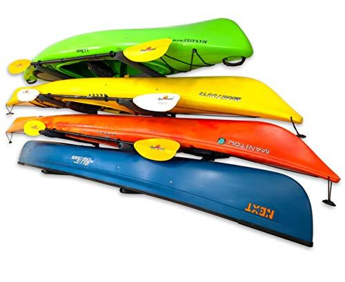 StoreYourBoard Outdoor 4 Kayak Storage Rack, Wall Mount, Holds 400 lbs, All Weather Heavy-Duty Metal...