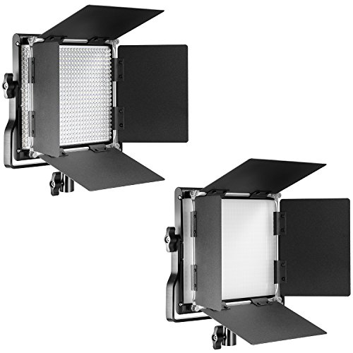 Neewer 2-Pack Dimmable Bi-Color 660 LED Video Light 3200K-5600K with U Bracket and Barndoor, (4) Rechargeable Li-Ion Battery and (2) USB Charger for Photo Studio Photography, YouTube Video Shooting