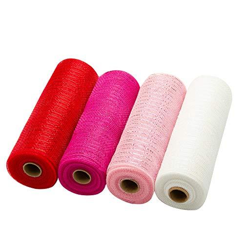 LaRibbons Deco Poly Mesh Ribbon - 10 inch x 30 feet Each Roll - Metallic Foil Red/Pink/Fuschia/White...