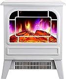 DFJU Camino Elettrico Riscaldamento Free-Sta caminetto con Realistico Effetto Fiamma Danzante - Protezione Anti-Ting - Facile da Montare 2000W Bianco (Bianco)