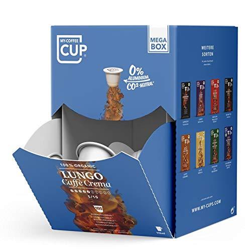 MEGA BOX - 100 BIO-Kaffeekapseln von My-CoffeeCup   Kompatibel mit Nespresso®*-Maschinen   Industriell kompostierbare Kapseln, CO₂-neutral** und ohne Alu (Lungo Caffè Crema, 100 Kapseln)