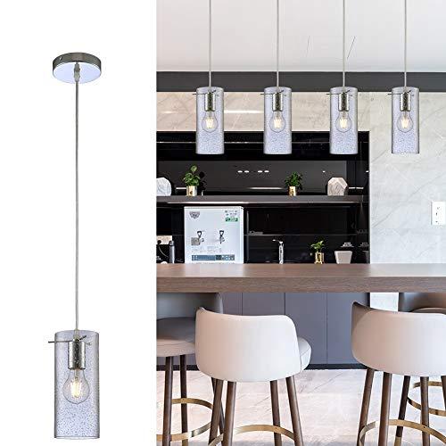 Lámpara colgante para decoración de isla de cocina, moderna lámpara de vidrio transparente soplado a mano para colgar, con cordón ajustable, lámpara de granja para...