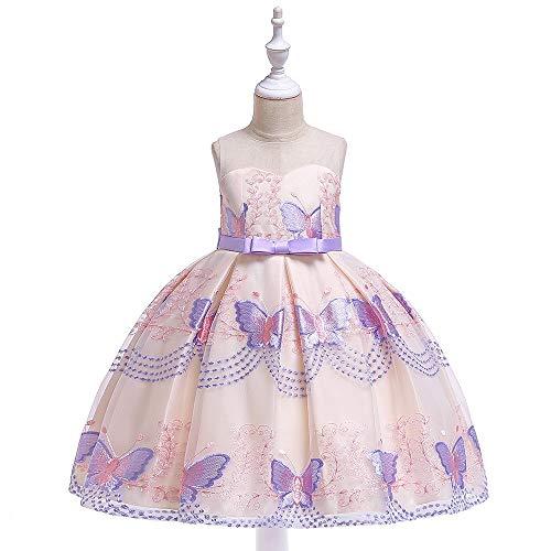 Kinderkleding gaasjurk schouder bloemen mouwloos kanten borduurwerk vlinder verjaardagsfeestjurk van leuke baby boogriem bruiloft bruidsmeisjesjurk meisjes jurk kinderen