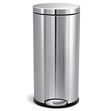 simplehuman 30 Liter/8 Gallon Stainless Steel Round Kitchen Step Trash Can, Brushed Stainless Steel