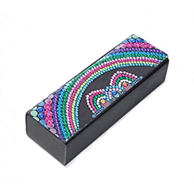 Diamond Painting Eyeglass Case Sunglasses Cases Storage Case Hard Case with Leather 5D Diamond Painting Kits for Adults Blue Light Blocking Glasses Box for Women(Rainbow Cat, 1PCS)