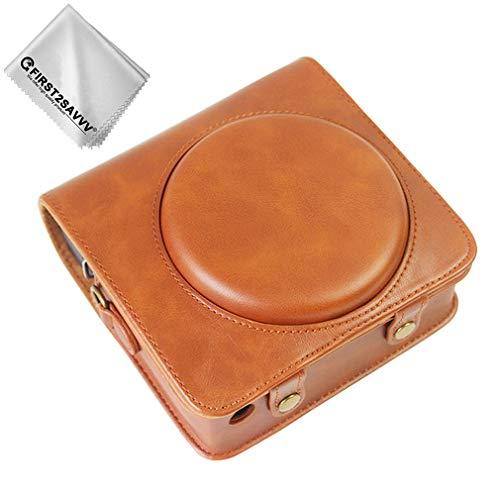 First2savvv braun Premium Qualität Ganzkörper- präzise Passform PU-Leder Kameratasche Fall Tasche Cover für Fujifilm instax Square SQ6
