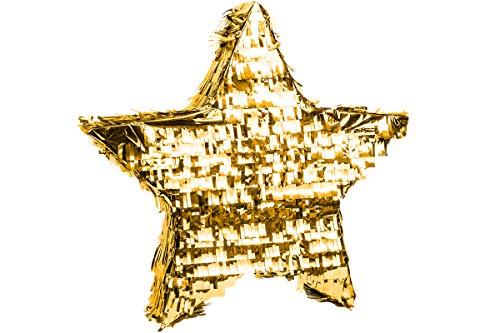 Trendario Pinata Stern, Ideal zum Befüllen mit Süßigkeiten und Geschenken - Piñata für Kindergeburtstag Spiel, Geschenkidee, Partyspiele (Gold)