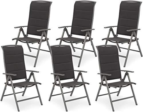 Brubaker 6er Set Gartenstühle Milano - Hochlehner Stühle klappbar - 8-Fach verstellbare Rückenlehnen - Klappstühle Aluminium - Wetterfest - Silbergrau