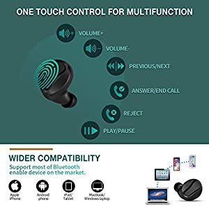 YW YUWISS T04 Bluetooth 5.0 True Wireless Earbuds with Charging Case Cordless in Ear Headphones IPX6 Waterproof with Noise Cancelling Mic for Apple iPhone Android Samsung