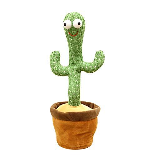 JOOBEE 32 cm tanzende Pflanze, elektronisches Kaktus-Singspielzeug mit lächelndem Gesicht, Streich, singender grüner Schwung, Plüsch, Kuschelpuppe, Wackelfigur, Geschenk für Kinder oder Freunde