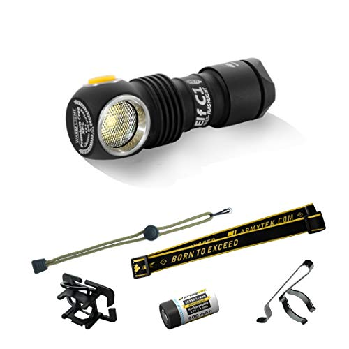 Armytek Elf C1 XP-L Micro-USB + 18350 Li-Ion- WARM - TURBO 980 LED Lm 102 M 10 YEARS WARRANTY Headlamp Multifunctional EDC Flashlight Waterproof IP68 (SHIPPING FROM THE OFFICIAL STORE IN CANADA)