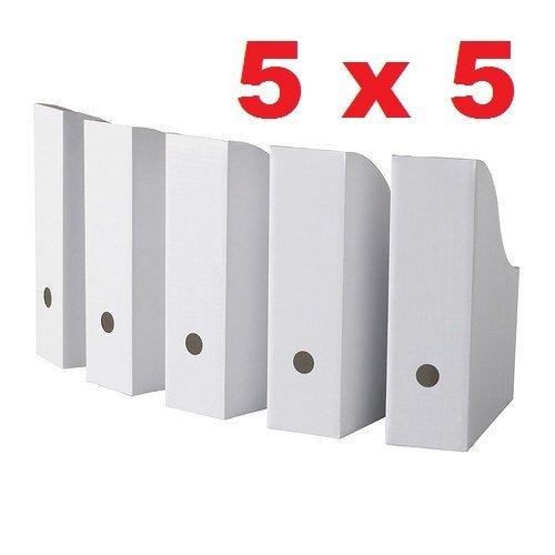 """Royal 25 White Magazine File Holders Storage Boxes 12 1/4""""H x 3 1/2""""W x 9 3/4""""D"""