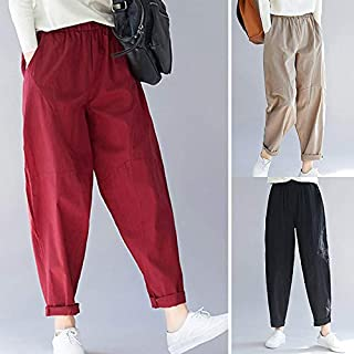Explopur Pants,Women Vintage Loose Pants Elastic Waist Pockets Plus Size Holiday Cotton Linen Harem Street Casual Trousers Khaki/Black/Red