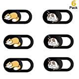 Webcam Cover Slide, Cute Cat Web Camera Cover 0.7mm Thin Fits for MacBook Pro, iMac, Laptop, PC, iPad Pro, iPhone 8/7/6 Plus Protect Your Privacy and Security Strong Adhesive Black(6Pack)