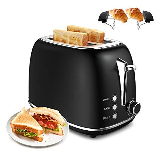 Tostadora, Morpilot Tostadora de pan 815 W, 2 Ranura Larga, Control de temperatura de 6 velocidades, Acero inoxidable,La función de deshielo y recalentamiento, es su asistente de desayuno (Negro)