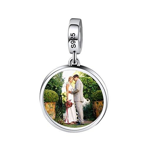 MoonLove Personalisiert Rund Form Anhänger Fotogravur Anhänger Fotoanhänger für Halskette Armband personalisierbar Silber Schmuck Schlüsselanhänger bedruckt mit Ihrem Wunsch Foto