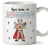 MUGFFINS Arquitecto Tazas Originales de café y Desayuno para Regalar a Trabajadores Profesionales - AQUÍ Bebe UN SÚPER Arquitecto - Cerámica 350 ml