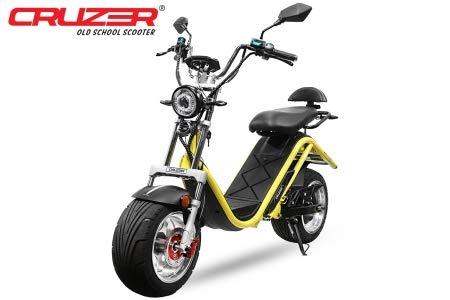 Cruzer i12 2100W 60V 20Ah 12 inch met toelating lithium-ion batterij 45km/h scooter scooter bromfiets geel